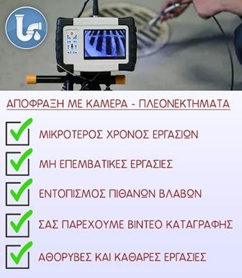 Έλεγχος αποχέτευσης με κάμερα στο Κερατσίνι